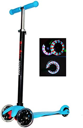 RIMABLE Kids 3 Wheel Adjustable Height Mini Kick Scooter with LED Light Up Wheels