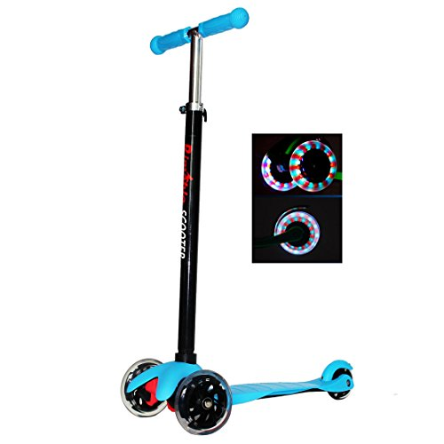 Rimable Kids 3 Wheels Adjustable Height Mini Kick Scooter with LED Light...