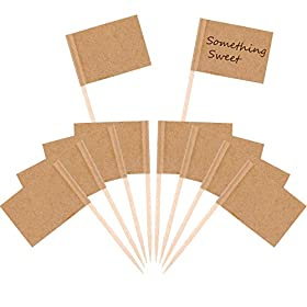 Pangda 100 Pieces Blank Toothpick Flags Cheese Markers White Flags Labeling Marking for Party Cake Food Cheeseplate Appetizers