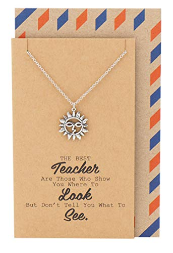 Quan Jewelry Sun Necklace, Hope Positive Charm, Gifts for Teacher & Mentor, Teacher's Day Gifts, Handmade Sun Jewelry with Quote ()