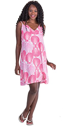 Peppermint Bay V-Neck 100% Rayon Short Shift Dress in Various Prints (in The Pink, Large (10-12))