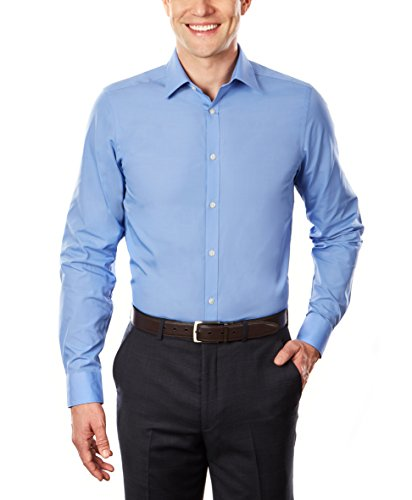 Arrow Men's Dress Shirt Poplin Slim Fit Spread Collar, Corn Flower, 17-17.5'' Neck 34-35'' Sleeve by Arrow 1851 (Image #2)