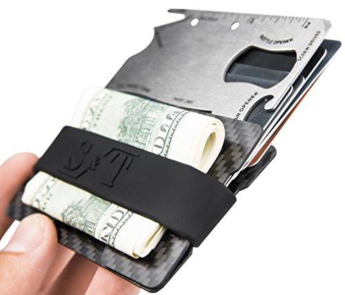 Credit Card Holder Wallet - Slim Wallet with Pocket Tool - Minimalist Wallet - Front Pocket Wallets for Men - RFID Blocking - Carbon Fiber with 3 Money Bands -