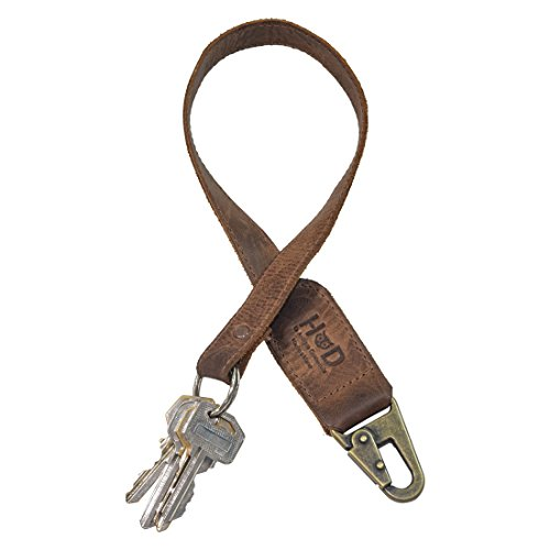 Rustic Leather Key Chain Lanyard Handmade by Hide & Drink :: Bourbon Brown