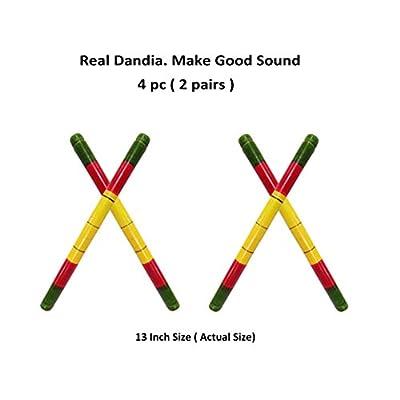 Craftsman 4 pc.( 2pair) Real Dandiya/Dandia Sticks to Play ( Makes Sound)- Wooden Stick, 2 Pairs of Multi Color Dandiya Sticks for Couple, Special Navaratri Ocassion: Toys & Games