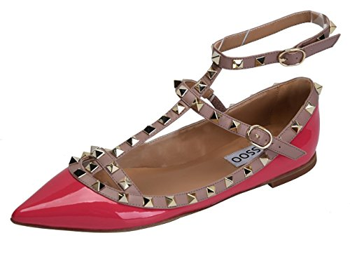 CAMSSOO Women's Metal Studs Strappy Buckle Pointy Toe Flats Comfortable Dress Pumps Shoes Fushia Patant PU Size US6 EU37