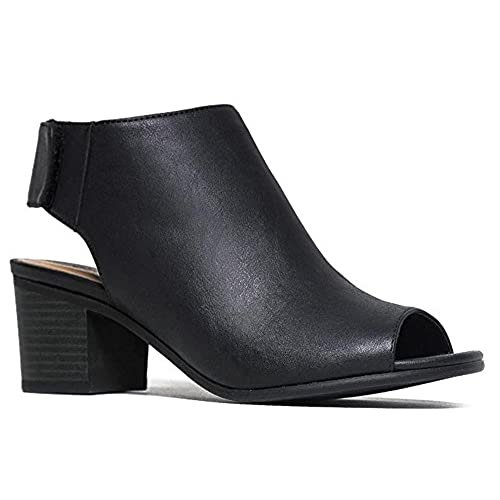 939fcd5deceb Peep Toe Bootie - Low Stacked Heel - Open Toe Ankle Boot Cutout Velcro  Enclosure delicate