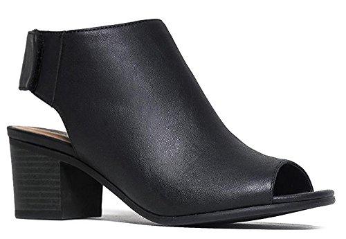 J. Adams Peep Toe Bootie - Low Stacked Heel - Open Toe Ankle Boot Cutout Velcro - London Jimmy Shop Choo