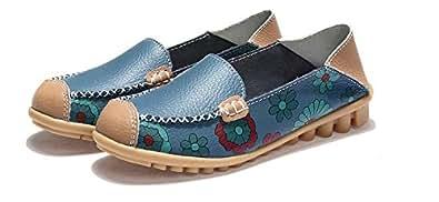 lcky Lightweight Flat Shoes Printed Lok Fu Shoes Women's Shoes Sneakers(Blue 35/4.5 B(M) US Women)