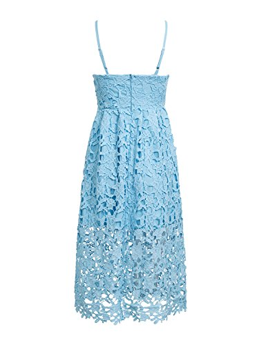 BerryGo Blue Women's Strap Spaghetti Lace Dress Embroidered Backless Midi 88qwadr