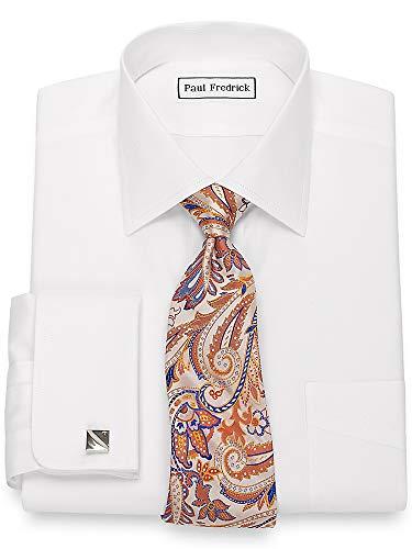Paul Fredrick Men's Non-Iron Cotton Pinpoint Spread Collar Dress Shirt White 17.5/35