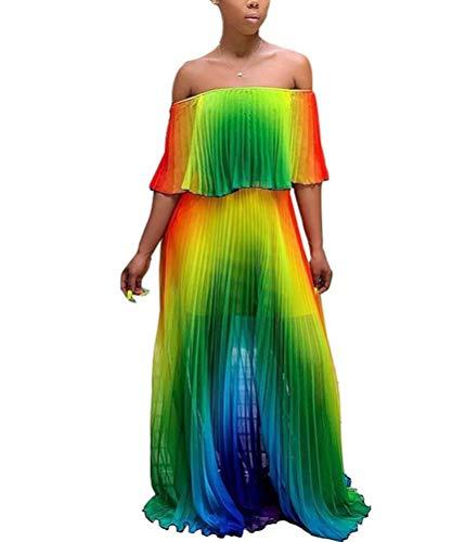 ThusFar Women's Striped Swing Maxi Dress Off Shoulder Short Sleeve Tie Dye Summer Pleated Long Beach Dress Sundress Green S (Womens Tie Dye Baby Doll)