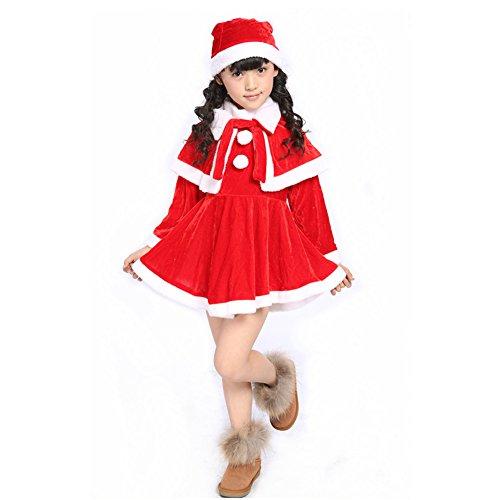 Christmas Girl Dress Boy Santa Claus Costumes Set (3T/4T - Height 41.4
