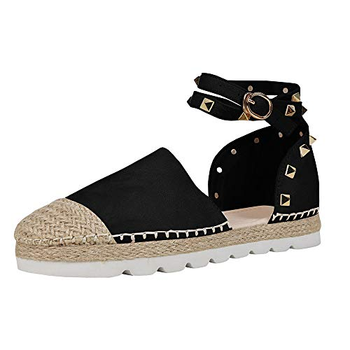 (FISACE Womens Summer Espadrille Ankle Strap Platform Wedge Sandals Wave Rivet Closed Cap Toe Flat Shoes Black)