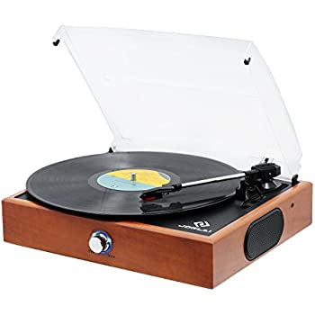 JORLAI Portable 3-Speed Vinyl Turntable Record Player with Built-in Stereo Speakers, Lightweight Solid Wood Cabinet, Support Vinyl-To-MP3 Recording, Aux Input & RCA Output
