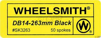 Wheelsmith DB 14g spoke, black - 263mm bag/50 by Wheelsmith (Image #1)