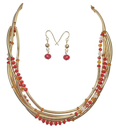 (Gypsy Jewels Layered Glass & Curved Tube Beads Gold Tone Necklace and Earrings Set (Red Orange))