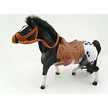 "8"" Grey Appaloosa Flocked Horse With Saddle Pretend Play Figure"
