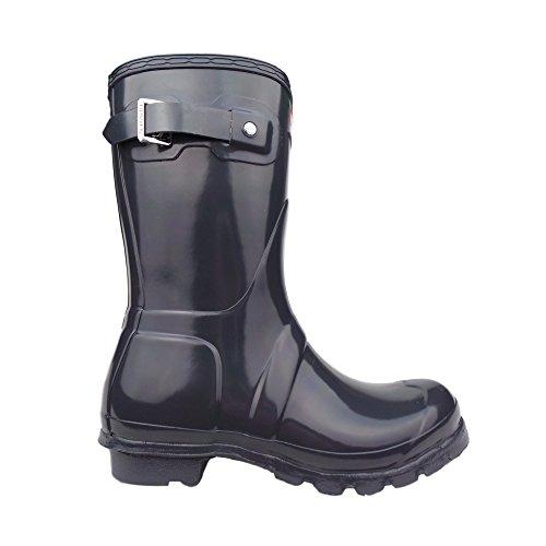 Hunter Women's Original Short Gloss Dark Slate Rain Boots - 7 B(M) - Slate Dark