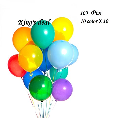King's deal¨ 100 Latex Balloons - 11 Inch - Assorted Colors,10 Color x 10