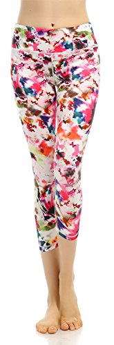 X-Fit Sports Yoga Pants Women's Running Gym Leggings High Waisted Workout Crop(Mult-Flower,S) ()