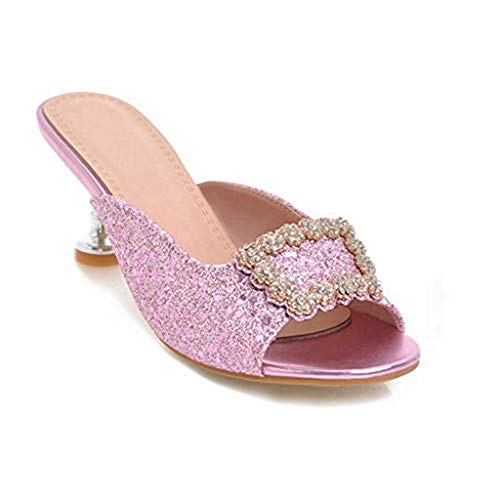 - Women's Rhinestone Flowers Sparkle Glitter Heels Slides Sandals Bling Slip on Dress Mules Clogs Pumps Shoes Pink