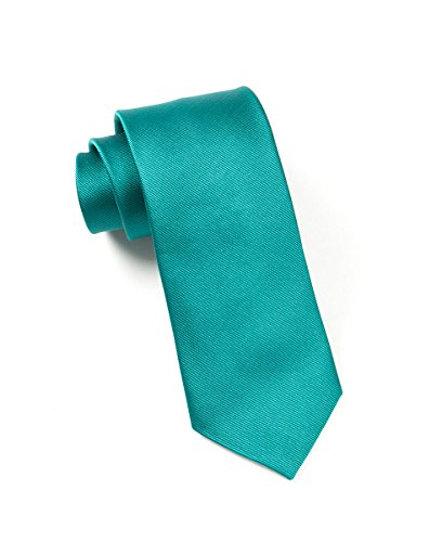 The Tie Bar 100% Woven Silk Green Teal GrosGrain Solid 2 1/2 Inch Skinny ()
