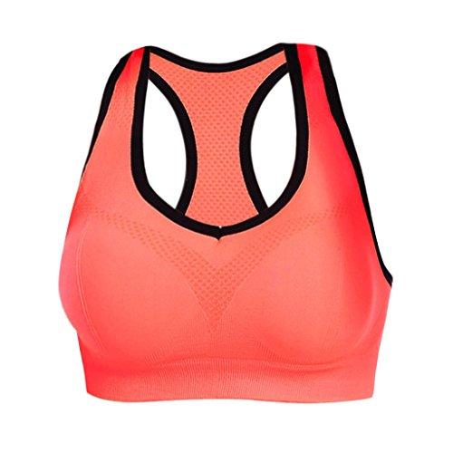Soutien-gorge Femmes Tops Vêtements de Sport Yoga U Cou Push Up - XL, Orange