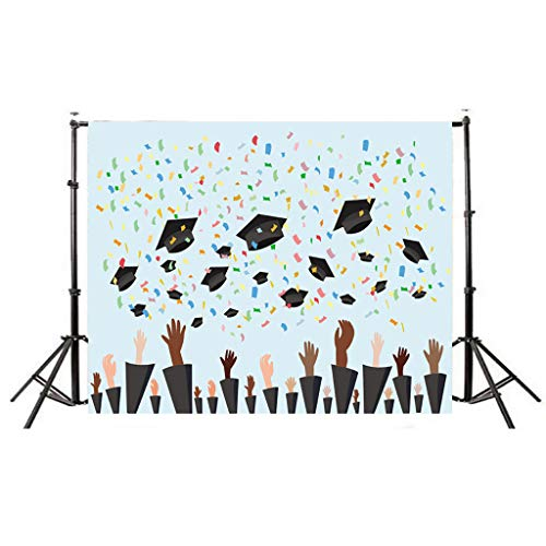 Yu2d  Graduation Backdrops Vinyl Wall 5x3FT Digital Background Photography Studio H(Multicolor H) -