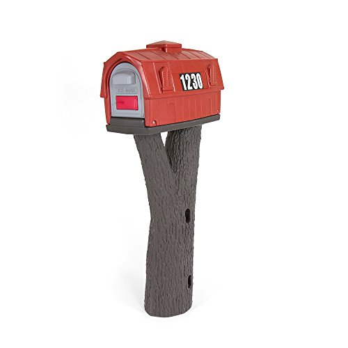 Simplay3 Rustic Red Barn Plastic Post Mount Mailbox by Simplay3