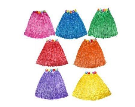ASIBT 10pc/lot Different Colors Hawaiian Adult Luau Flowered Grass Skirt, 23 inch Long Hula Skirt ()