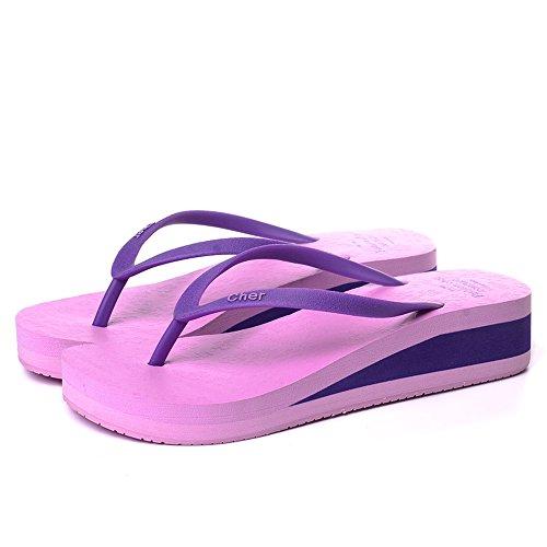 claro Moda de cómodo MEIDUO damas oscuro Rosa Púrpura verano verano Chanclas de de señoras No No de Negro Azul Purple deslizante Moda deslizante Verde sandalias Azul wFExq7g