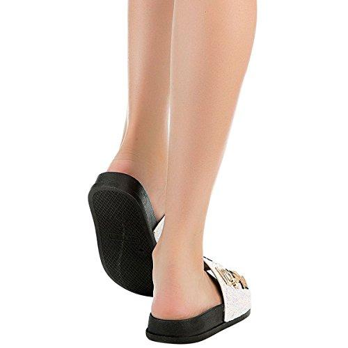 Cape Robbin Da Donna Open Toe Glitter Impreziositi Da Infradito Su Infradito Pantofola Sandali Piatti Bianchi