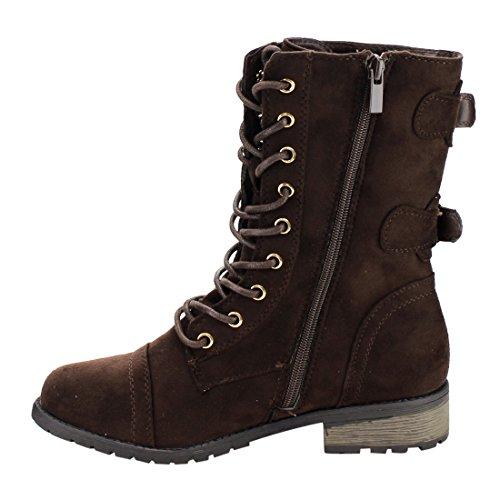 Voor Altijd Ic27 Dames Lace Up Rits Gesp Strap Chunk Hak Half Kalf Combat Boot Bruin