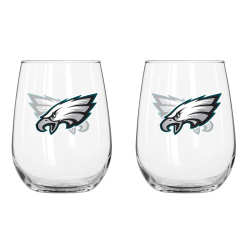 NFL Philadelphia Eagles Curved Beverage Glass, 16-ounce, 2-Pack ()