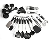REDKOCO - 23 Piece Premium Stainless Steel Kitchen Utensils with Nylon Heads – Ultra Resilient and Cookware Set Pizza Cutter, Measuring Cups, Whisk, Tongs, Grater, Turner etc