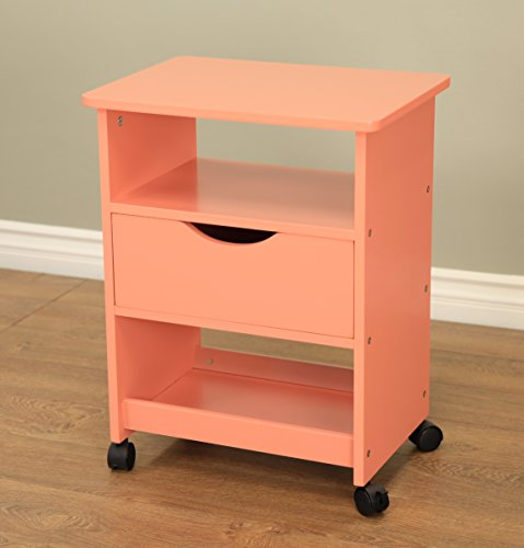 Frenchi Home Furnishing Rolling Cart with Drawer, Orange by Frenchi Home Furnishing