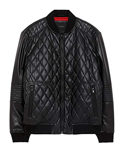 Zara Men Quilted Faux Leather Bomber Jacket 8281/364 for sale  Delivered anywhere in USA