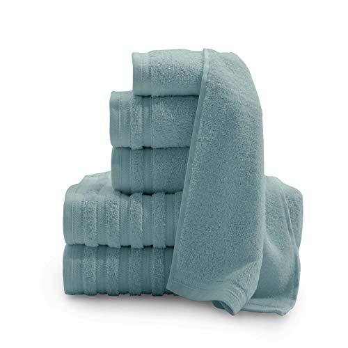 Baltic Linen Pure Elegance 100% Turkish Cotton Luxury Towels, 2 Bath Towels, 2 Hand Towels, 2 Washcloths, Smoke Blue, 6 Piece Set