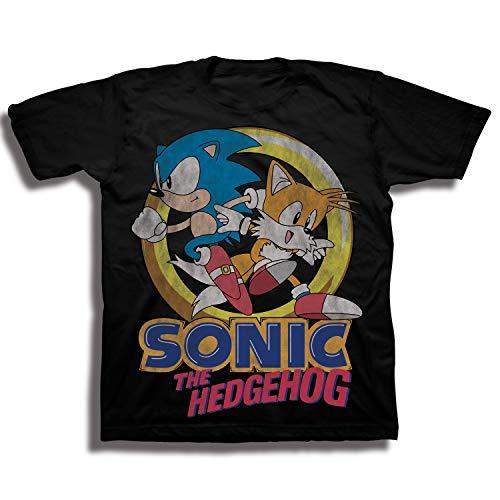 (Sega Boys' Little Sonic The Hedgehog & Tails Short Sleeve Tshirt, Black,)