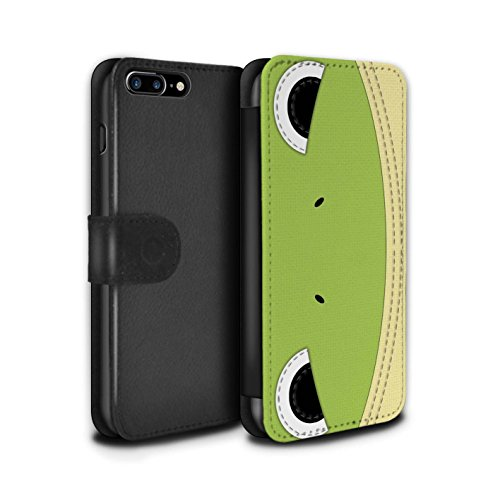 Frog Quilted (STUFF4 PU Leather Wallet Flip Case/Cover for Apple iPhone 8 Plus/Frog Design/Animal Stitch Effect Collection)