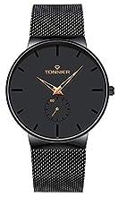 Tonnier Stainless Steel Slim Men Watch Quartz Watch Black Face Rose Gold Hollow Watch Hands Independent Second Hand Dial Watches