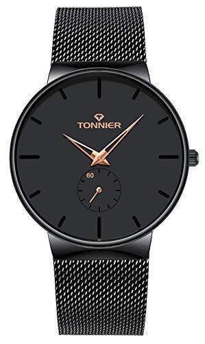 (Tonnier Stainless Steel Slim Men Watch Quartz Watch Black Face Rose Gold Hollow Watch Hands Independent Second Hand Dial Watches)
