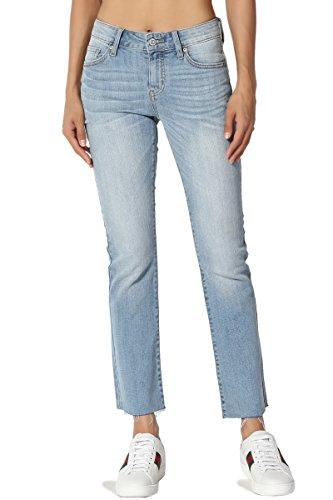 TheMogan Women's Mid Rise Wash Stretch Denim Cutoff Cropped Bootcut Jeans Light 0