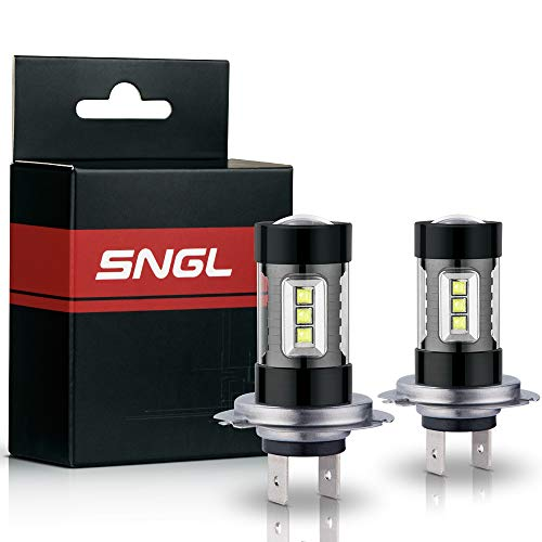 (SNGL H7 Super Bright CREE LED DRL Fog Light bulbs - Plug-and-Play - 6000K Cool White (Pack of 2))