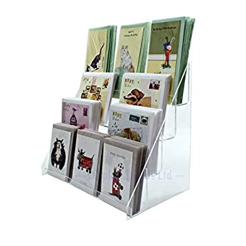 Clear Acrylic 4 Tier Greeting Card Stand For Retail Display Counters Ds42 400