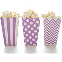 Popcorn Boxes, Purple Design Trio (36 Pack) - Gourmet Mini Movie Theater Style Popcorn Tubs & Candy Buffet Treat Cartons