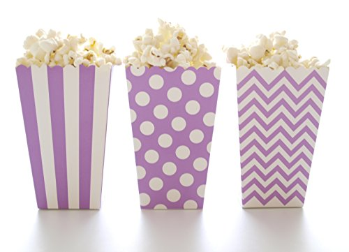 Mini Gourmet Box - Popcorn Boxes, Purple Design Trio (36 Pack) - Gourmet Mini Movie Theater Style Popcorn Tubs & Candy Buffet Treat Cartons