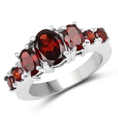Johareez Seven Stone Garnet Ring in 925 Sterling -