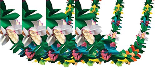 Fun Express Tissue Flower Garland, Various Colors,  (IN-3/369), (4 Pack) -